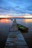 Pier am Sonnenuntergang Stockfoto