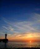 Pier am Sonnenuntergang Lizenzfreies Stockfoto