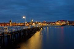 Pier in Sopot. Night view from the pier at Sopot, Poland Stock Images