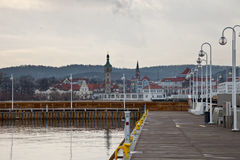 Pier in Sopot. View of the skyline from the pier of Sopot, Poland royalty free stock photography