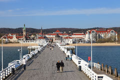 Pier in Sopot. View from the pier on the beautiful architecture of Sopot, Poland royalty free stock image