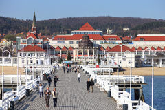 Pier in Sopot. View from the pier on the beautiful architecture of Sopot, Poland royalty free stock photos