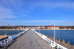 Pier in Sopot. View from the pier on the beautiful architecture of Sopot, Poland Stock Photo