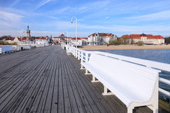 Pier in Sopot. View from the pier on the beautiful architecture of Sopot, Poland Royalty Free Stock Photography