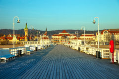 Pier in Sopot at morning. View from the pier on the beautiful architecture of Sopot, Poland Stock Photo