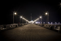 Pier in Sopot. During night cold day Stock Images