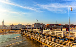 Pier in Sopot, Poland. Tourists walking on the Sopot Pier longest wooden pier in Europe Stock Photography