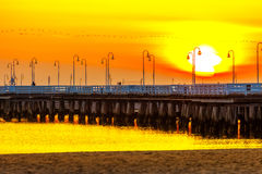 Pier in Sopot. Sunrise at the pier in Sopot, Poland royalty free stock images