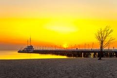 Pier in Sopot. Sunrise at the pier in Sopot, Poland stock image