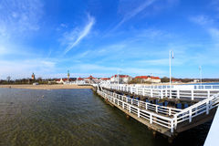 Pier in Sopot. View from the pier on the beautiful architecture of Sopot, Poland Stock Images