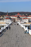 Pier in Sopot. View from the pier on the beautiful architecture of Sopot, Poland stock image