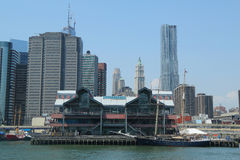 Pier 17 at South Street Seaport in Lower Manhattan Royalty Free Stock Image