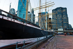 Pier of South Street Seaport in New York Royalty Free Stock Image
