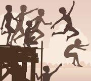 Pier springende jongens vector illustratie