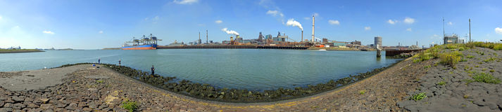 Pier and Steelworks Panorama Royalty Free Stock Photography