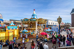Pier 39 stores and Carousel in Fishermans Wharf - San Francisco, California, USA Stock Images