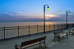 Pier at sundown in Miedzyzdroje, Poland Stock Photo