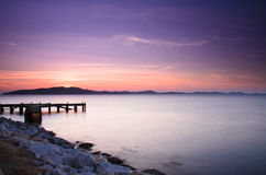 Pier at sunrise, eastern Thailand Stock Image