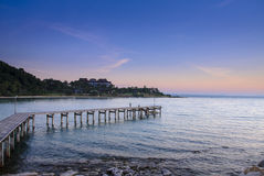 Pier at sunrise, eastern Thailand Royalty Free Stock Photography