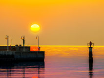 Pier at sunrise in Sopot, Poland. Stock Photo