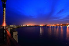 Pier at sunrise twilight. At Ancol Jakarta Indonesia Stock Image