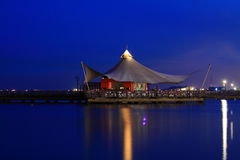 Pier at sunrise twilight. Beautiful twilight at the pier, Ancol Jakarta Royalty Free Stock Photo