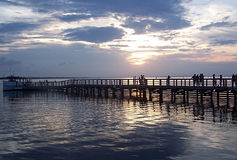 Pier Sunset. A beautiful sunset on a pier in Destin, Florida Royalty Free Stock Photos