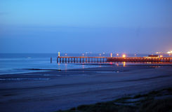 Pier after sunset. The pier at Blankenberge, Belgium after sunset Royalty Free Stock Photos