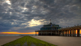Pier Sunset. An evening picture from the Pier off Blankenberge Royalty Free Stock Images
