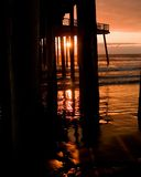 Pier Sunset. Sunset at Pismo california Pier Royalty Free Stock Images