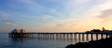 Pier sunset. Calming sunset at Malibu Pier Stock Photography