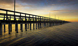 Pier in sunset Royalty Free Stock Photo