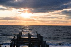 Pier at sunset Royalty Free Stock Photos