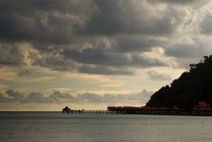 Pier at sunset on a beautiful island. Pier at sunset, Langkaw Islandi, Malaysia Royalty Free Stock Photos