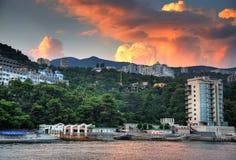 Pier at sunset. Crimea landscape. Nature background Royalty Free Stock Image
