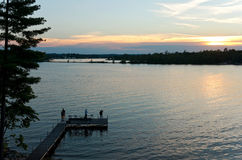 Pier Sunset on East Gull Lake Stock Photos