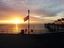 Pier, Sunset, Horizon, Sky Stock Images