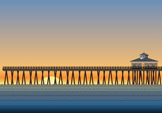 Pier With Sunset Stock Photography