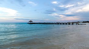 Pier and sunset Playa del Carmen Stock Photography