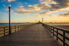 The pier at sunset, in Seal Beach  Royalty Free Stock Photography