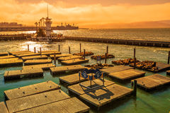 Pier 39 at sunset Royalty Free Stock Images