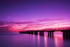 Pier at sunset Versilia Italy stock photo