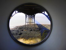 Pier supports through circular window Stock Image