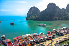 Pier surrounded by limestone karst of Ha Long Bay in Quang Ninh Province, northeast Vietnam Royalty Free Stock Photos