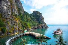 Pier surrounded by limestone karst of Ha Long Bay in Quang Ninh Province, northeast Vietnam Stock Images