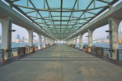 Pier in Symmetrical Structure Stock Photo