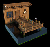 Pier and tavern - 3d art. 3d art scene of a little pier in front of a tavern. There is a sign with a beer mug on it and idle seagulls around. Made in retro voxel Royalty Free Stock Images