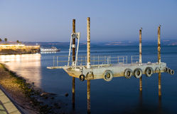 Pier in Tiberias. Pier just outside the harbour of Tiberias on the coast of the lake of Galilee Stock Photography