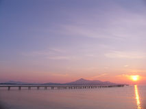 Pier to sunrise. Gangplanck to sunrise Royalty Free Stock Image
