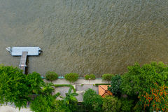 Pier top view Chao Phraya river Bangkok Stock Image